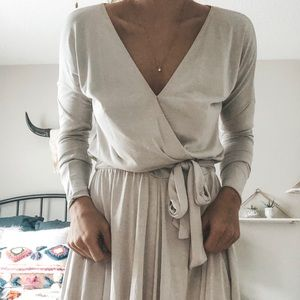Anthropologie Cream/grey Flow Romper